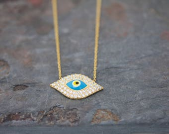 Large evil eye necklace