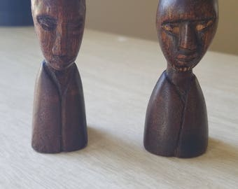 Vintage Pair of African Busts--Small/Petite/Miniature
