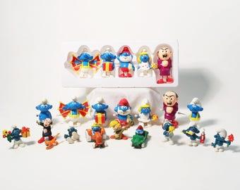 Lot Vtg Smurf Toys - ERTL Cars 1982, Galoob Wind-Up Set, PVC Figures, Peyo 1980s