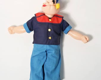 """Vintage Popeye The Sailor Man Doll 16"""" King Features Syndicate Cartoon 1960's"""