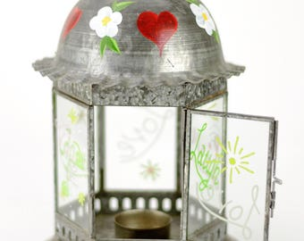 Garden Lantern - Metal & Glass - Love, Laugh, Live