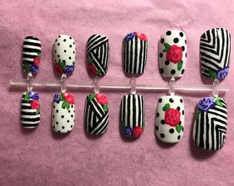 Black Acrylic Nails White Fake Nails Floral False Nails Geometric Glue On Nails Graphic Press On Nails