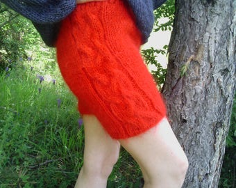 New hand knitted mohair pants,Red,Handmade shorts