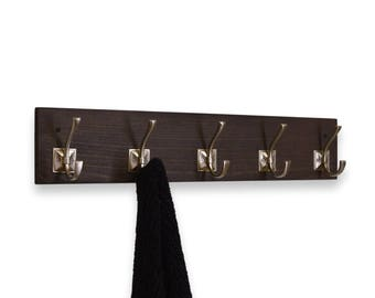 Coat or Bath Towel Rack Row of 5 Hooks