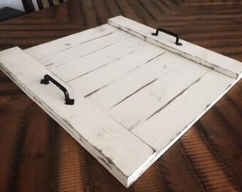 Ottoman tray, large wooden serving tray, breakfast tray, coffee table tray, farmhouse decor, rustic decor