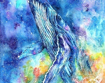 humpback whale - mounted original painting