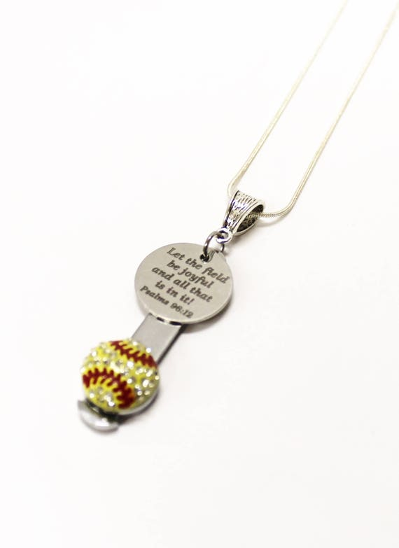 Let The Field Be Joyful Softball Bible Verse Necklace, Psalms 29 12 Bible Verse Gift, Softball Mom Gift for Her, Softball Player Gift