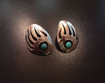 Navajo Sterling Earrings Bear Claw Design with Turquoise
