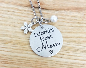 Mother's Day gift - worlds best mom - engraved mom necklace - Valentine's Day gift for mom - personalized mom necklace - gift from kids