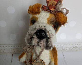 Symbol of the year 2018,English bulldog,gift Bulldog,stuff animal,teddy dog ,Pet portrait,soft toy,Artist teddy,Dog lover gift Stuffed dog