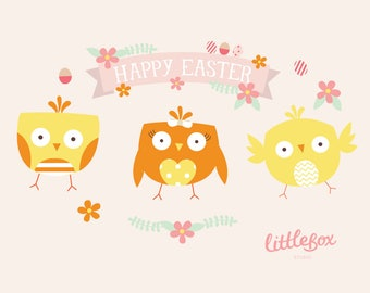Easter Chicks - Clip Art - Instant Download - EPS PNG