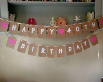 Happy Birthday Bunting Banner with Age Numbers 21st, 30th, 40th, 60th etc