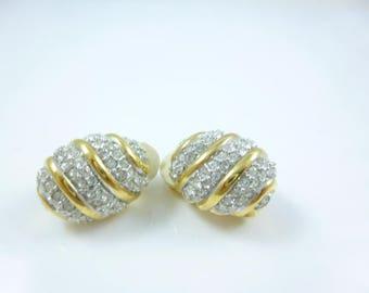 Crystal Clip on Earrings,  non pierced Earrings, Bridal Clip on earrings,  Vintage new
