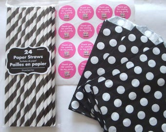 Birthday Party Kit - Black Polka Dot Paper Favour Treat Bags - Labels - Paper Straws