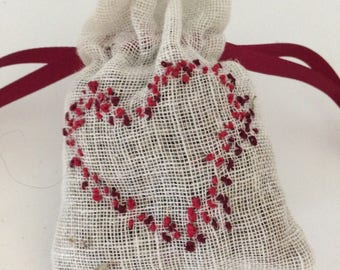 Lavender hand embroidered bag