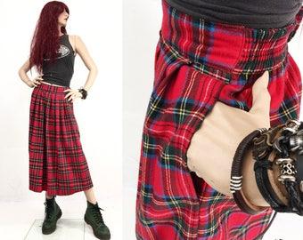 Vintage 90s plaid skirt long • high waist skirt • buffalo plaid skirt • maxi skirt red • skirt with pockets • red skirt pockets • M