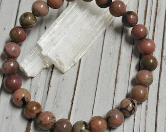 Natural Rhodonite (Dark Salmon) Stone Bracelet, Meditation, Stackable, Stretch Bracelet, Boho, Natural Stone
