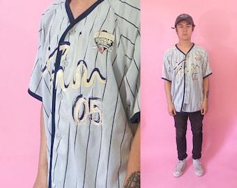 DISCOUNT Fubu jersey size xl baseball pinstripe 1990s 1980s pinstripe 90s 80s made in korea