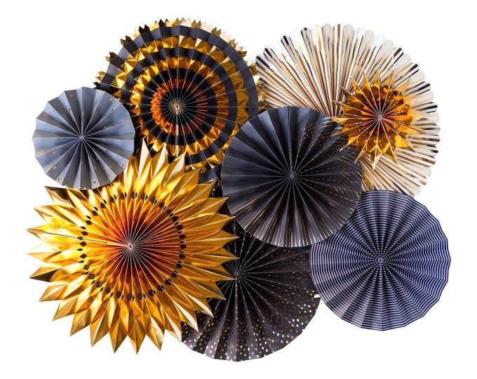 Black and Gold Rosettes, New Years Eve Party Fans, NYE501 New Years Eve Party Decor, Black and Gold Pom Wheel, Holiday Party Ideas