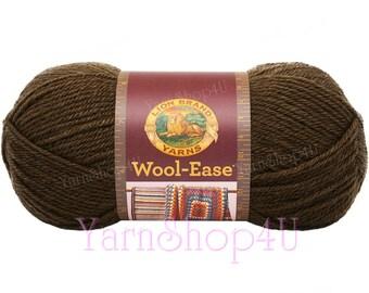 COCOA. Wool Ease Lion Brand Yarn. Medium Dark Brown Acrylic and Wool Blend Yarn. Medium Worsted Weight Yarn. 3.oz / 197yds (85g / 180m)