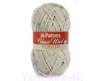 ARAN TWEED Patons Classic Wool yarn, Tweed wool yarn. Cream Felting yarn. 100% Pure Wool, Patons Aran Tweed Wool Fleck yarn 3.5oz 100g