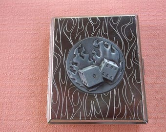 Vintage Silver Flaming Dice Cigarette Case,  Super Cool Dice On Fire Front, Flames on the Back, Cigarette Lighter, Great Condition
