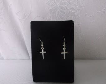 Sterling Silver Cross Earrings, Dangle Pierced Cross Earrings, Never Worn, like new