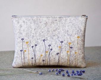 Felt Pouch, Flowered  Felt Purse, Felt Handbag, Bridesmaid Bag, Zipper Clutch, Zipper Pouch, Clutch Wallet, Phone Pouch