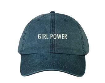 """GIRL POWER Washed Dad Hat, Embroidered """"Girl Power"""" Feminism Hat, Low Profile Girl Gang Feminist Baseball Cap Hat, Navy Blue"""