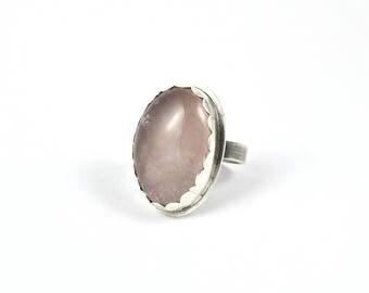 Rose Quartz Ring, Statement Ring, Boho Ring, Pink Ring, Gift for Women, Bridesmaid Gift, Girlfriend Gift, Oval Ring, Gemstone Ring, Bohochic