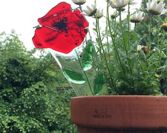 Poppy Plant pot stake, glass, garden decoration, pot stake, garden art, argyll, scotland