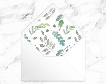A7 Envelope Liner - Watercolor Branches - Printable Instant Download PDF
