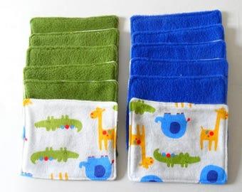 Set of 12 wipes green / blue / green / jungle