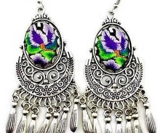 Handmade dangle chandelier earrings, tassel boho embroidered metal earrings, water drop earrings, tribal metal earrings, black, pink, purple