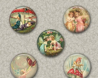 80%  off Graphics Sale Digital Fairies and Elves Collage Sheet Flower Fairies Images for Pendants Pocket Mirror,Magnets, Buttons. Cupcake To