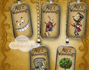 80 % off Graphics SaLe Alice in Wonderland Domino Images 1 x 2 Inches Rectangle Digital Collage Sheet Images for Jewelry, Decoupage, Decorat