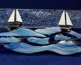 Fused Glass Boats Sailng On blue Wavy Ocean