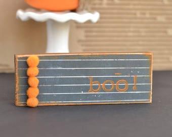 Mini Halloween Sign. Boo. Orange and Black.