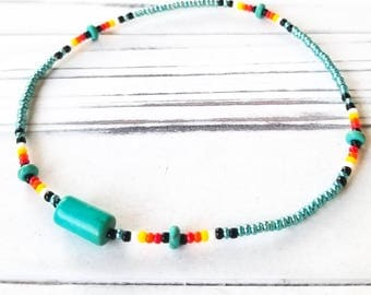 Native Jewelry, Native Beaded Jewelry, Native America Jewelry, Beaded Ankle Bracelet, Beaded Anklet, Beach Jewelry, Summer Jewelry, Boho