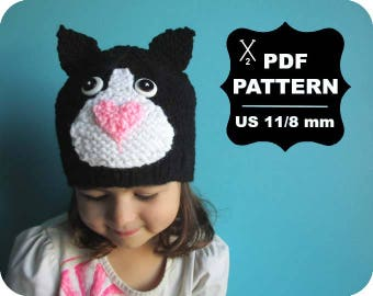 English-French Two Needle KNITTING PATTERN / Digital Download / #46 / Knitted Cat Hat / 6-16M to 5 years-Adult / US11 / 8mm