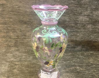 Tracy Porter Hand Painted Floral Glass Vase, Floral Urn Shaped Vase, Hand Painted Glass, Floral glass Bud Vase, Tracy Porter Vase