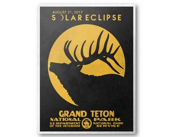 Grand Teton National Park Solar Eclipse 2017 Poster