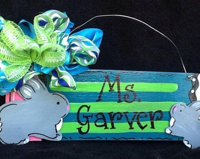 Teacher door hanger, pencil door hanger, bunny door hanger, animal door hanger, school door hanger, teacher gift sign, teacher sign,