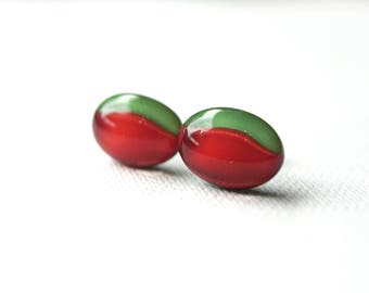 Red and green Christmas glass studs, fused glass on titanium posts