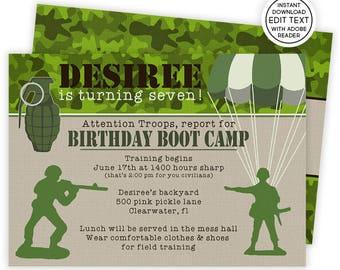 Boot Camp Invitation   Army Invitations   Military Invitations   Army Birthday Party   Army Birthday   Army Birthday Invite   Camo   500