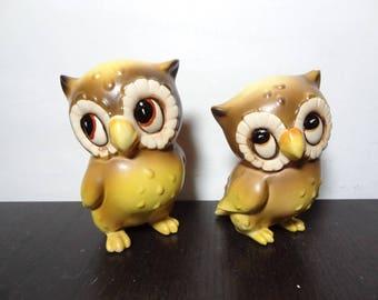 Vintage Kitsch Joseph Originals Ceramic Owl Figurines - Set of 2 Brown and Yellow Owl Figurines