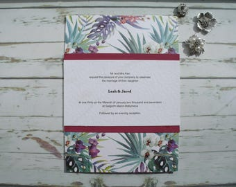 Wedding Invitation. Tropical/summer Wedding Invitation. Modern Wedding Stationery