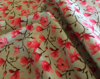 Magnolia Flowers Fabric in mint and shades of pink