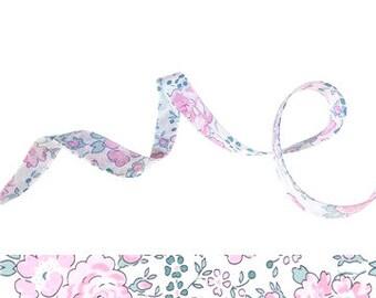 Felicity Rose Dragée Liberty bias binding 1x Yard, 10mm wide floral bias binding in pastel pink, green and white, sewing supplies