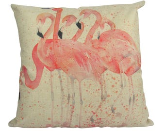 Watercolor Flock of Flamingo's - Pillow Cover